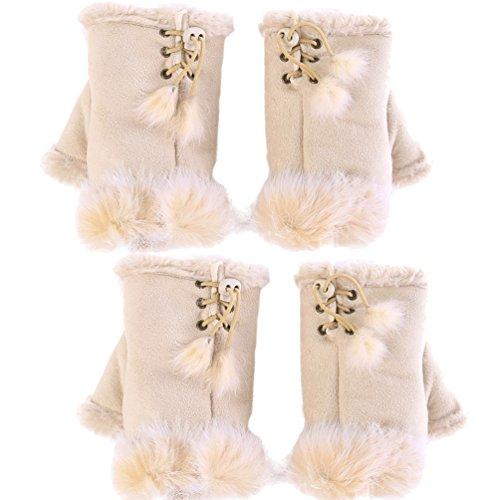(Novawo 2pairs Women Winter Warm Fingerless Gloves Texting Gloves Wrist Warmer)