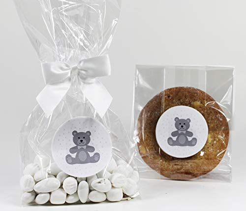 Teddy Bear Gender Neutral Baby Shower Treat Party Favor Bags with Gray Stickers and Twist-Tie Satin Bows. Set of 10 Clear Cellophane Goodie Gift Bags, Bows and Stickers, Gray, White