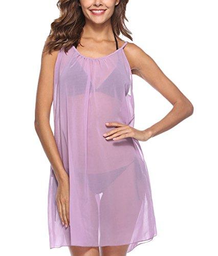 Strandkleider Damen Kurz Elegant Casual Dünn Transparent Chiffonkleid  Bikini Cover Up Ärmellos Rückenfrei Rundhals Einfarbig Locker 5d30d7d0a2