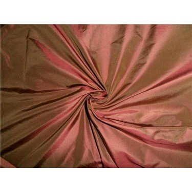 "100% PURE SILK TAFFETA FABRIC IRIDESCENT PINKISH RED X LIGHT BROWN 54"" By the yard Hobbies Home decor Sewing Fashion Doll Dress Furnishing Interior"