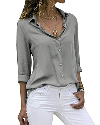 Yidarton Women's Long Sleeve V Neck Chiffon Blouses Tops Button Down Business Shirts(Gray,S)