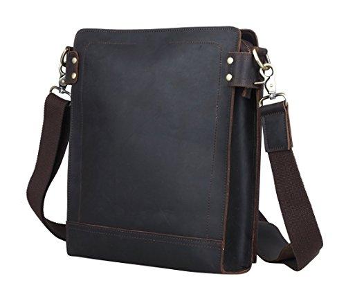 Man's Vintage Genuine Leather Messenger Bag Casual Slim Cross body Bag Travel Shoulder Satchel Bag