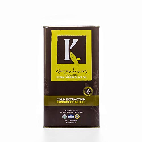 Kasandrinos Organic HUGE 3 LITER Extra Virgin Greek Olive Oil - 2018/19 Harvest - NonGMO Keto Paleo, 100% Organic First Cold Pressed, Single Sourced from Greece CHEF ()