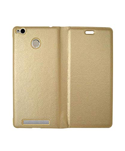 covernew leather Flip Cover for xiaomi mi redmi 3s prime   golden meephFlip Cover redmi3sprime  gold
