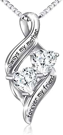 DAOCHONG Sterling Silver Always My Mother Forever My Friend Double Love Heart Necklace, Mother's Day Gift
