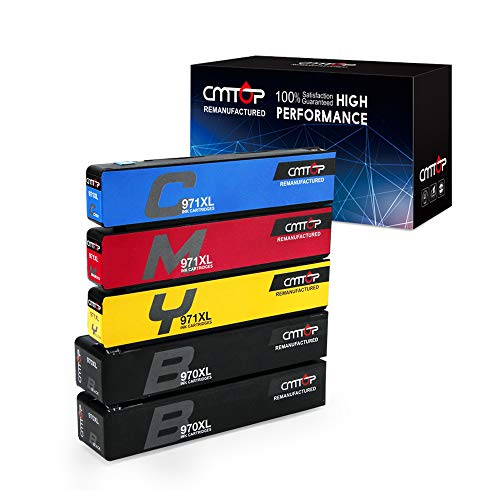 CMTOP 5 Packs 970XL 971XL Ink with Latest Chips, Compatible for HP 970 970XL 971 971XL Ink Cartridges, High Yield, Work with HP Officejet Pro X576dw X476dw X476dn X551dw X451dn ()