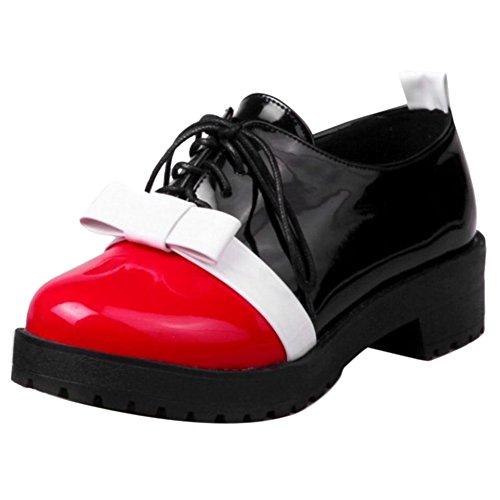 Pumps COOLCEPT Schnurung Red Chunky Schuhe Mode Damen URrRt