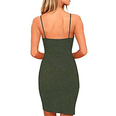 Zalalus Women's Elegant Spaghetti Straps Deep V Neck Sleeveless Bodycon Party Dress at Women's Clothing store