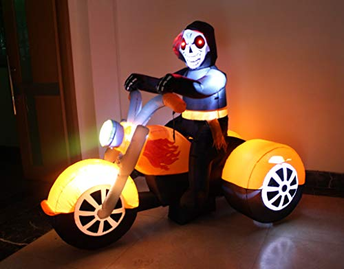 BZB Goods 6 Foot Long Halloween Inflatable Skeleton Ghost Riding on Motorcycle Bike Lights Lighted Blowup Party Decoration for Outdoor Indoor Home Garden LED Prop Yard Blow Up Lawn Decorations by BZB Goods (Image #1)