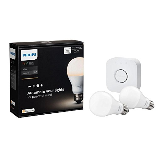 LED Light Bulbs 60 Watt Starter Kit with Hue Bridge and 2 Hue Bulbs A19, Gives a Warm White Light, Ideal To Any Rooms or Lighting Fixtures