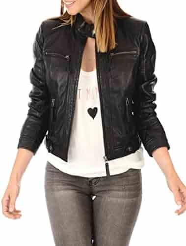 New Womens Black Leather Motorcycle Biker Jacket Soft Lambskin LFWN358