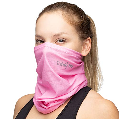 Debrief Me Neck Gaiter Mask Anti slip WELDED EDGE Balaclava Bandana Lightweight Breathable Face Protection from Sun Dust, Germ - Sport Scarf for Hiking Running Motorcycling Fishing (Pink)