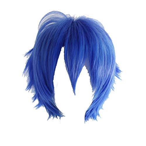 Alacos Cosplay Wig Short Party Hair Blue Boy Girl Anime Wig Hair Heat Resistant Retro Soft Straight Short Layered Full Head Wig+ Cap
