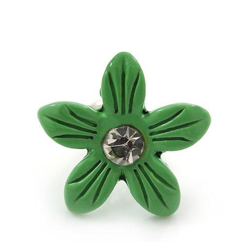 """Clous d'oreille """"Marguerite"""" émail vert clair pour enfants"""
