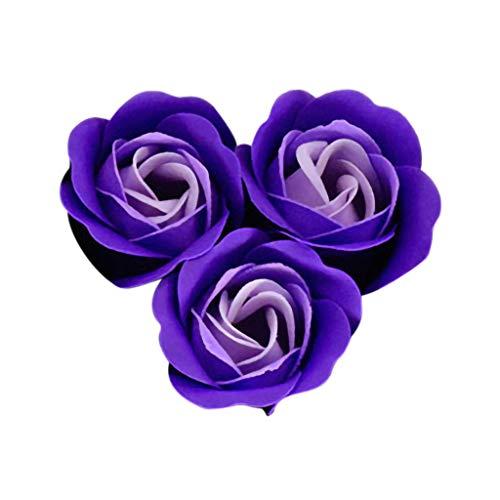 Ktyssp Heart Scented Bath Petal Rose Flower Soap Wedding Decoration Gift 3pc (Purple) ()