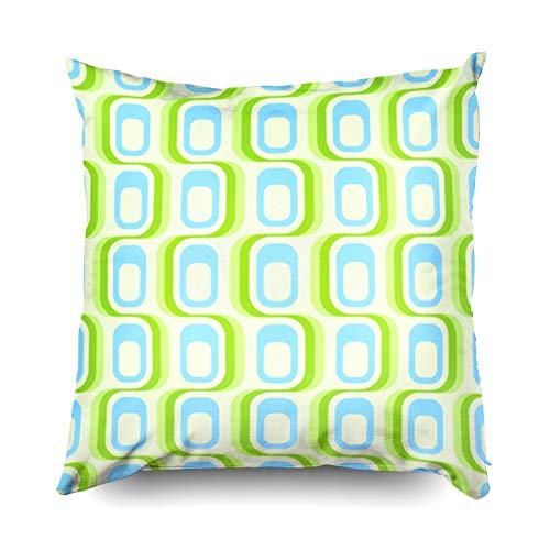 - Asdecmoly Decorative Pillowcase Retro Green Blue Pattern Tiles in Any Direction Cover for Kids Throw Cushion Square 20X20 Inchs Home Sofa Bed Travel Gift
