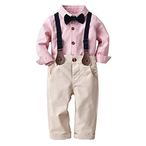 Toddler Kids Boys Gentlemen Suit Stripe Long Sleeve Bow Tie Shirt Suspender Pants Outfits Set (Pink, 2T-3T)