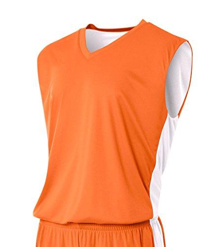 A4 Mens Reversible Moisture Management Muscle Shirt, 3XL, - Orange Reversible T-shirt