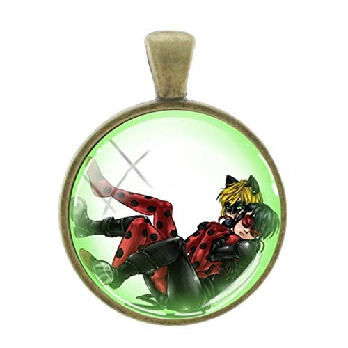 Slide Cameo Bracelet Gold (Pendants -1Pc Black Cat and Lady Beetle Girl Seris Pendants Fashion Cartoon Picture Bronze Plated Charms 25Mm Glass Jewelry - Lb111)