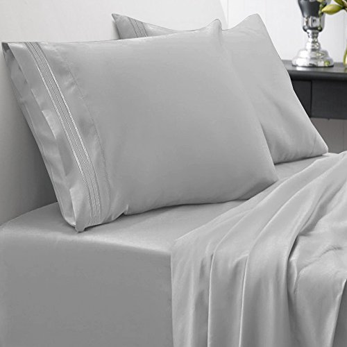Sweet Home Collection 1800 Thread Count Egyptian Quality Brushed Microfiber 4 Piece Deep Pocket Bed Sheet Set, King, Silver