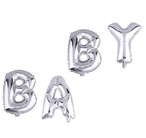 Cute Silver Alphabet Letters Balloons BABY Decoration Aluminum Foil Membrane Ballon by ZOOYOO