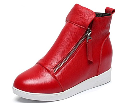 Wedges Sneakers for Women Leather, High Hidden Heel Zip up Walking Sneakers Black White Red Silver Red
