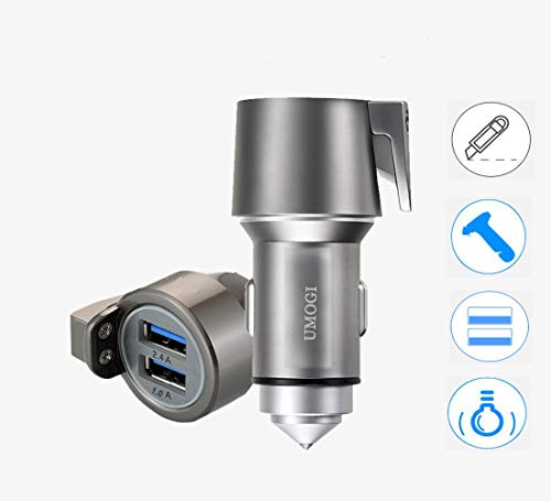 (UMOGI 3 in 1 Dual USB Car Charger 2.4A Window Breaker Seat Belt Cutter Emergency Escape Tools Car Safety Hammer Compatible with iPhone/Samsung Galaxy/A9/Note,LG Google Pixel,iPad Pro/Air 2/Mini(Gray))