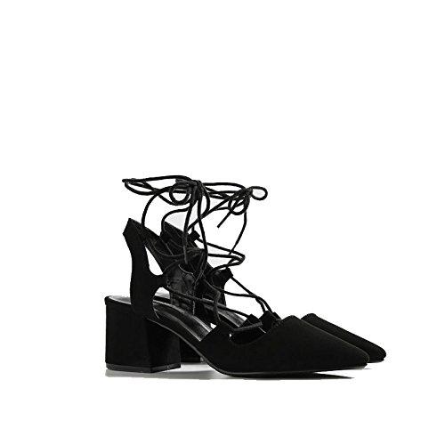 Jqdyl High Heels Fruuml;hling hochhackige Bandage Schuhe wies Baotou flachen Mund dick mit kleinen Schuhen Sandalen  36|black