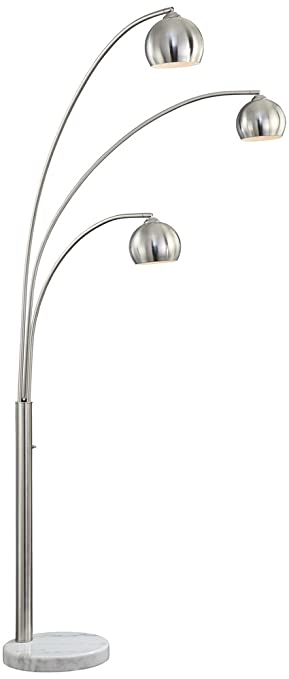 pacific coast lighting crosstown 3 light arc floor lamp in nickel - Arc Lamps