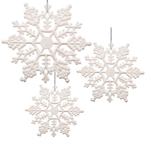 BANBERRY DESIGNS White Snowflake Christmas Ornaments - Pack of 36 White Glittered Snowflake Ornaments - Assorted Sizes - Iridescent White Christmas Snow Flakes -