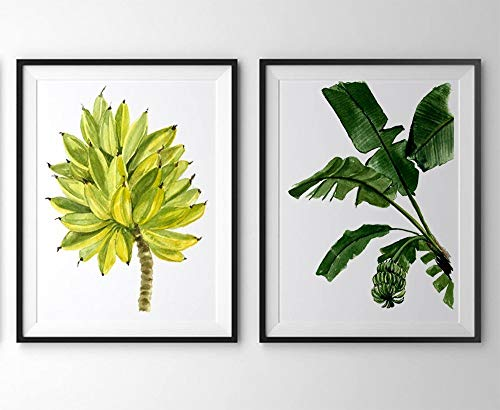 - Banana leaf wall art #A037 - Set of 2 prints (8x10). Banana leaf print.Banana leaf wall decor.green and yellow wall art.Fruit art.Fruit wall art.
