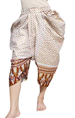 RaanPahMuang Sukhothai Traditional Batik Cotton JonGrabaen Thai Pants, S/M, White Brown