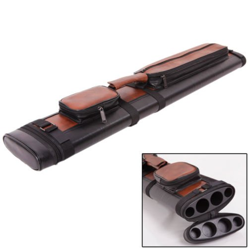 Tube Pool Hard Case Cue (Leather 2x2 1/2 Billiard Stick Pool Hard Cue Tube Case Black & Brown Hole Pocket)