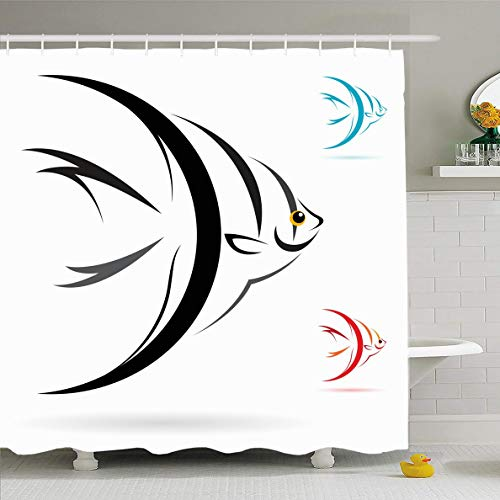 - Ahawoso Shower Curtain 60x72 Inches Aquatic Silver Tropical Angel Fish On White Wildlife Sea Nature Yellow Angelfish Marine Salt Water Waterproof Polyester Fabric Bathroom Curtains Set with Hooks
