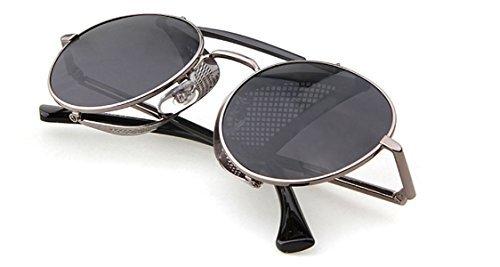 606a3347e1f Flowertree STY056 Metal Frame Mesh Fold-in Side Shield Round 52mm Sunglasses  (C3-