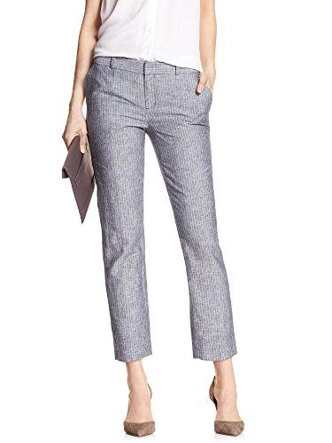 Banana Republic Womens Striped Hampton Fit Linen Cropped Pants Chambray Blue 8
