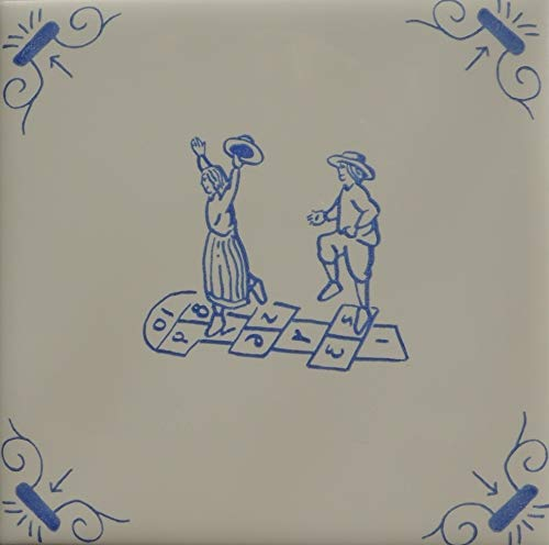 Roza Children Playing Hopscotch, Delft Style Blue and White Ceramic Wall Tiles
