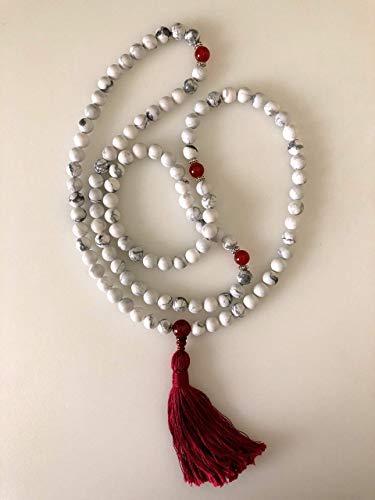 Howlite and Carnelian Mala White and Red // Mala Necklace // Yoga Beads // Made by Katog Ratna Ling of Louisiana