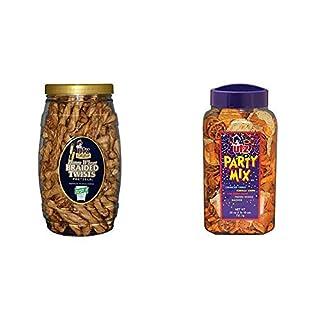 Utz Honey Wheat Braided Pretzel Twists – 26 oz Barrel – Sweet Honey Taste, Thick, Crunchy Pretzel Twists & Party Mix - 26 Ounce Barrel - Tasty Snack Mix Includes Corn Tortillas, Nacho Tortillas