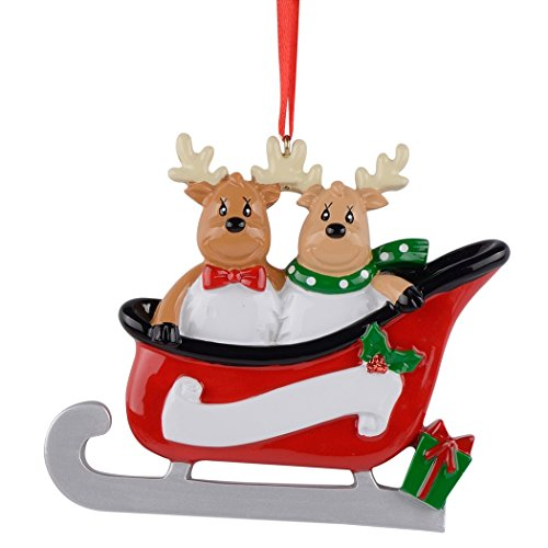 MAXORA Personalized Reindeer Family Sled 2 Christmas Ornament