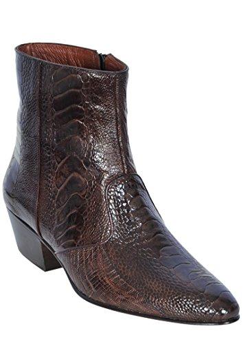Men's Ankle Medium Round Toe Brown Genuine Leather Ostrich Leg Skin Western Boot