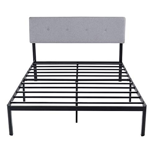 V&LX 14sf05 Steel 14 Inch Tall V1405 Deluxe Headboard Metal Slat Bed Frame (Full), Black
