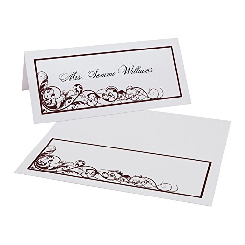 Scribble Vintage Swirl Place Cards, Pearl White, Chocolate, Set of 350 by Documents and Designs