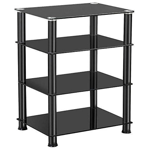 (Yaheetech 4 Tier Media Audio AV Component Hi-Fi Stand Tempered Glass Rack, Black)