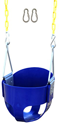 Jungle Gym Kingdom High Back Full Bucket Toddler Swing Seat Heavy Duty Chain - Swing Set Accessories - Blue with Locking Snap Hooks (Lamb Cradle Swing)