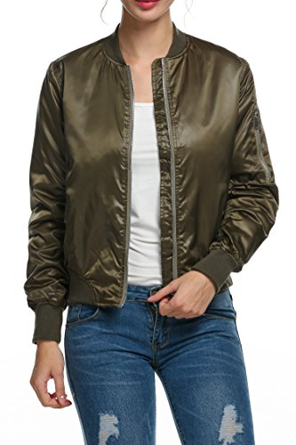 Zeagoo Women Fashion Casual Classic Bomber Flight Zipper Jacket