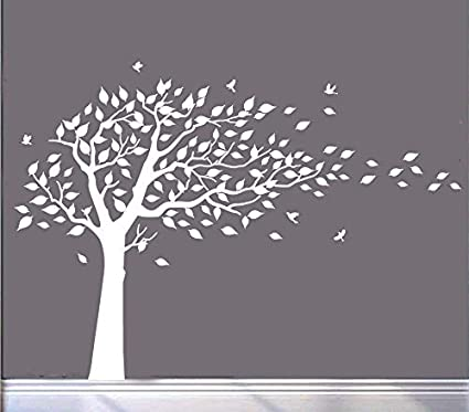 MAFENT Large Cherry Blossom Tree Blowing In The Wind Wall Decals Sticker Vinyl