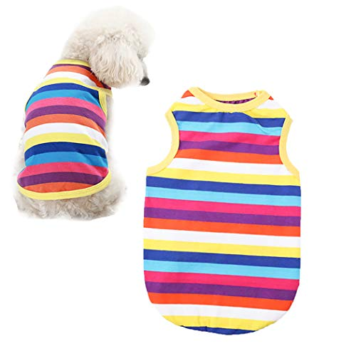 (Petea Rainbow Stripe Pet Puppy Vest Breathable Summer Cotton Sleeveless T-Shirt Cute Clothes for Dogs and Cats (L))