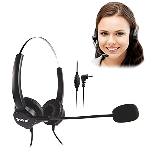 TRIPROC Binaural DC 2.5MM Telephone Headset for Landline Phones,Compatible for Jabra Cisco Polycom Panasonic (Binaural)