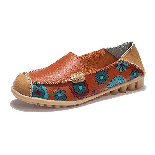 T-july Mujeres Penny Mocasines Zapatos Flores Impresión Suave Cómodo Barco Mocasín Zapatos Planos Naranja